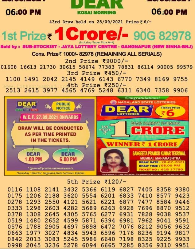Dhan Kesari Lottery Result 6 PM Today 2021