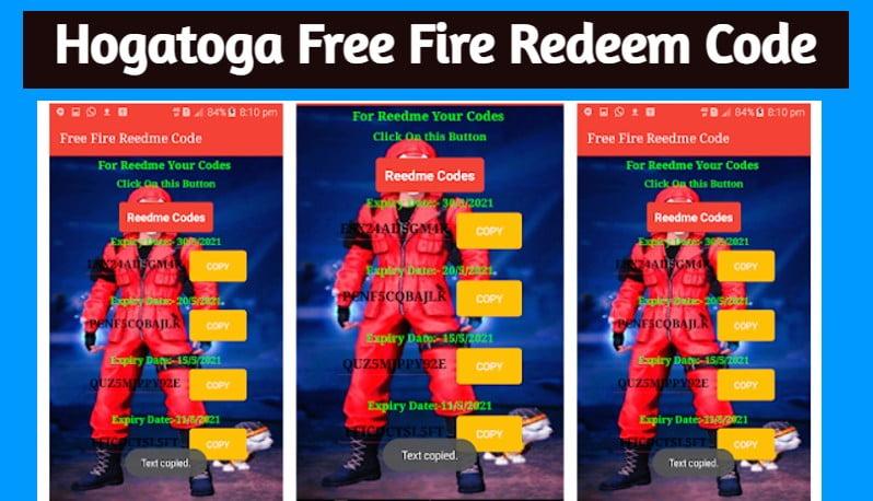 HogaToga Free Fire Redeem Code
